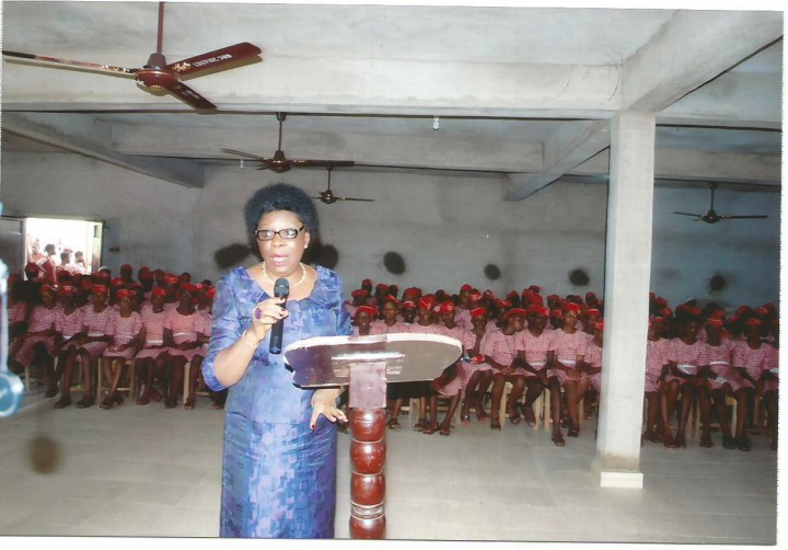 ED presesnting a paper on Adequate Use of ICT to young students of Queen of the Rosary College, Onitsha, Anambra State, Nigeria in October 2014