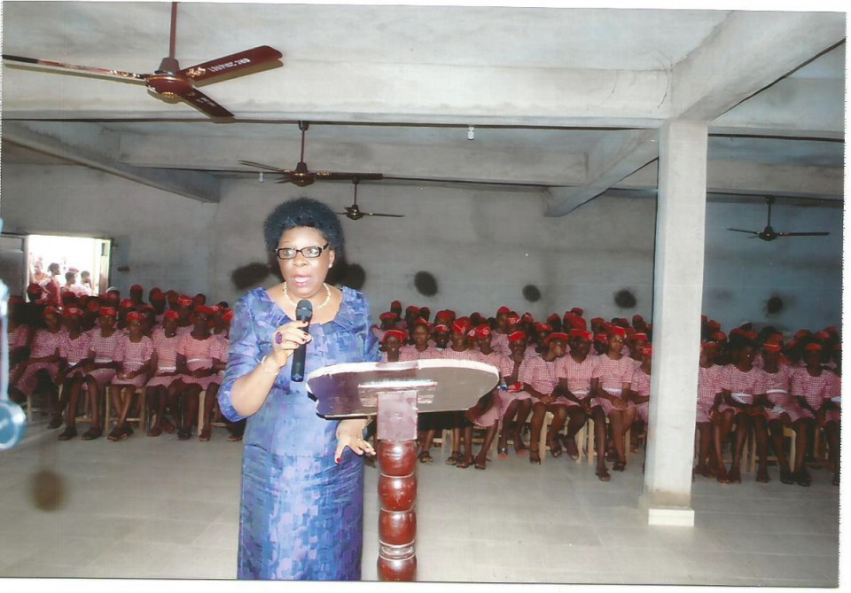 ED presesnting a paper on Adequate Use of ICT to young students of Queen of the Rosary College, Onitsha, Anambra State, Nigeria