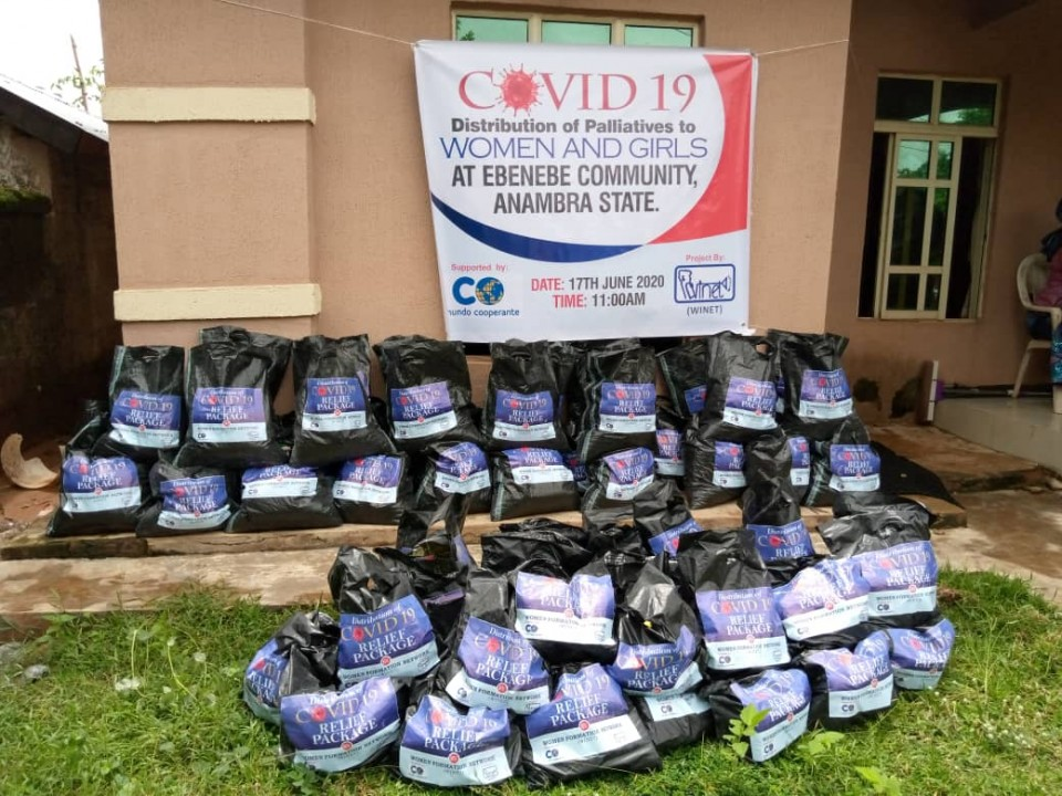 Bags of items to be distributed to women & young girls of Ebenebe Community, Anambra State